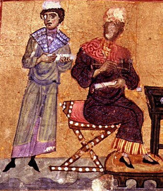 Saint Gregory and Julian the Equalizer in deep discussion, 12th century, Monastery of Agios Panteleimon, Mount Athos