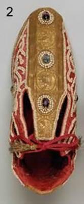 Coronation shoes of the Holy Roman Emperors, originally 12-13th century, altered in the 17th century.jpg